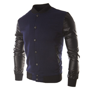 Shujin Jaqueta Masculino Moda Pu Leather Jacket Patchwork Hoodies Básico 2017 Homens Outono DO Bomber Jackets Coats Outerwearz30