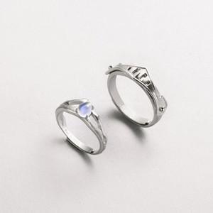 Thaya Natural Blue Light Moonstone Кольца Романтическое Кольцо Влюбленных 100% S925 Серебряные Броня Полосы Для Женщин Старинные Элегантные Украшения Y19061003