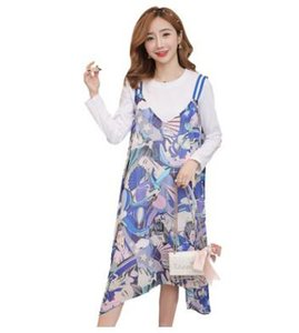 Hot Maternity Sets 2018 Autumn Winter New Long-sleeved T-shirt + Printed Sling Dress Two-piece Set Breastfeeding Clothes QL688
