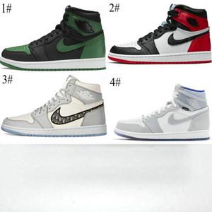 2020 del dedo del pie nueva 1 retro alta OG W raso Negro Rojo hombres / mujeres / niños zapatos de baloncesto 1s zapatos deportivos juveniles de alta OG pino verde zapatillas de deporte grises de hueso