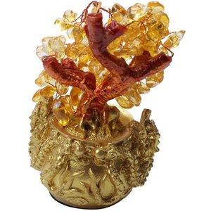 Decoração chinesa Cristal Dourado da Sorte Dinheiro Fortune Árvore LUCKY Fortune Riqueza Home Office ornamento melhores presentes