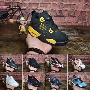 Nike Air Jordan 4 Designer 4 Kids Basketball Chaussures Enfants Tout-petit sport rouge Chicago Boy filles 4s Basket Ball Pour Enfants Chaussures de sport
