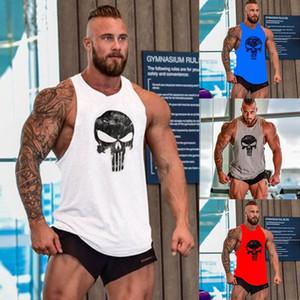 남성 체육관 민소매 셔츠 보디 빌딩 스포츠 피트니스 조끼 근육 탱크 탑 의류 목화 슬링 두개골 인쇄 남성 T 셔츠