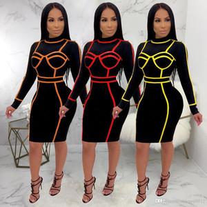 2019 HISIMPLE Floresan Renk Trim BODYCON Midi Elbise O Yaka Uzun Kollu Moda Parti Elbise Kadınlar Seksi Clubwear Yansıtıcı Kıyafetler