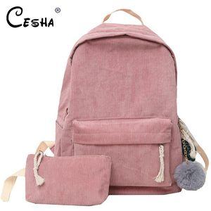 Fashion Corduroy Design Women School Backpack High Quality Durable Backpacking Backpack Soft Fabric Girls Schoolbag Sac