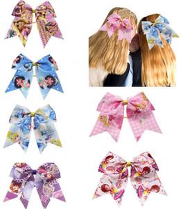 6pcs / pack Nueva 7Inch princesa de impresión arcos del pelo de ánimo muchachas arquean pelo elástico de la cinta Bandas de poliéster para Niños Chicas Accesorios para el cabello regalo
