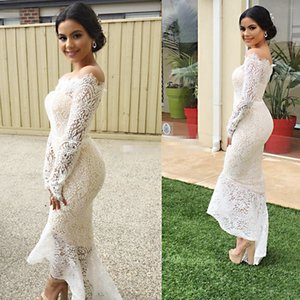 Uguest Vintage Women Lace White Dress Office Lady Slash Neck Empire Long Sleeve Bodycon Sexy Party Sexy mermaid Dresses Vestidos
