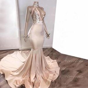 2020 Abendkleider Nixe tiefere V-Ausschnitt South African Formal Abendkleid Neckholder Sweep Zug Gelegenheits-Partei-Kleider
