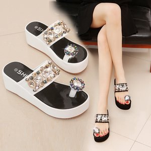 Verano clásico del dedo del pie-pomo exterior desgaste sandalias de la manera atractiva del mollete de cuña sandalias femeninas