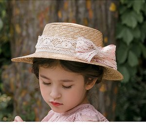 2020 Summer girls straw sunhat girls lace bows princess hat children beach holiday outdoor sunhat visor A3213