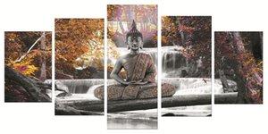 5 조각 캔버스 포스터 및 인쇄 벽 아트 캔버스 Painting water Buddha 벽 그림 거실 색 장식 그림 90-3