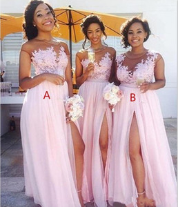 Country Blush Pink Bridesmaid Dresses Sexy Sheer Jewel neck Lace Appliques Maid of Honor Dresses Split Formal Evening Gowns Wear