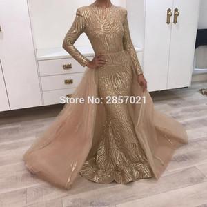 Шампанское мусульманские вечерние платья Арабское вечернее платье Съемная юбка 2020 Уникальное платье с блестками Длинное платье для выпускного вечера Дубайское платье Abendkleider