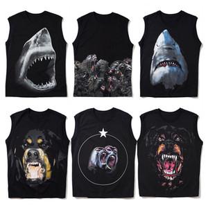 رجل T قميص بلا أكمام موضة الصيف القرش الطباعة المصمم أكمام عالية الجودة الرجال النساء الهيب هوب تيز الحجم S-2XL