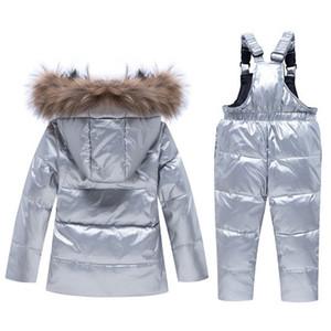 Childrens lusso Giacca Down Imposta bambini Marca Imposta Ragazzi Spesso Zipper Bright insieme Face Down Jacket Top + i pantaloni della Set di abbigliamento vendita calda