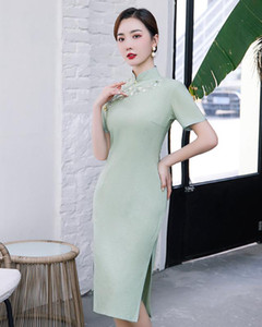 2020 New Long Cotton And Linen Improvement Girl Cheongsam Daily Embroidery Fashion Lady Wind Small Freshing Slim Qipao Dress