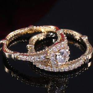 Huitan fabbrica di lusso all'ingrosso 2PC anello nuziale super set di lusso Golden Color Micro pavimentati Solitaire Anelli di fidanzamento per la ragazza