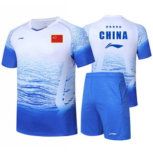 New Li Ning badminton game clothes men's and women's sports suit short sleeve table tennis shirt + shorts game clothes