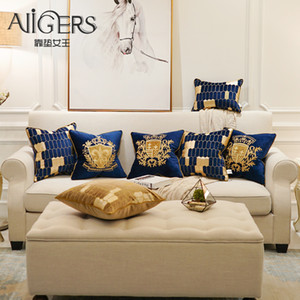 Avigers Embroidery Velvet Cushion Cover Luxury European Pillow Cover Gold PillowCase Geometry Home Decorative Sofa Throw Pillow Y200103