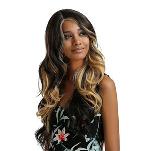 Lace Front Wavy Wig Synthetic Natural Long Curly Wigs Loose Wave Wigs Heat Safe Fiber Full Wigs (25'', Black Mix Brown)