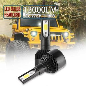 H7 LED COB Headlight Bulb 110W 12000LM 6000K Super Bright High Power Black car lights