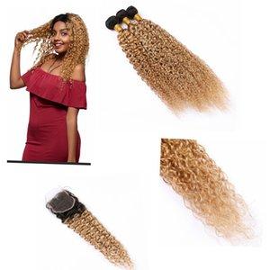 """Pérou Ombre Kinkys bouclés Bundles cheveux avec 4"""" Closures * 4"""" Dark Racine 3 Bundles Ombre Blonde péruvienne Bundles cheveux # 1B / # 27"""
