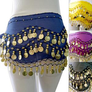 Танец живота юбка шарф Hip Wrap ремень шифон 3 Ряды 128 монет пояса юбки Этап одежда