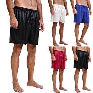 NOVOS Homens de Cetim Pijama Sleepwear Casual Sleep Lounge Shorts Nightwear Calças Curtas