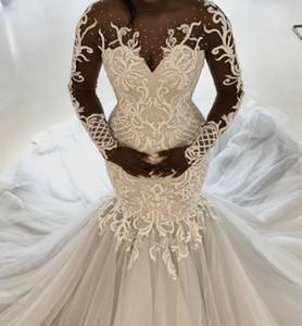 Plus Size Arabic Aso Ebi Mermaid Wedding Dresses Gorgeous Lace Beaded Sheer Neck Long Sleeves Bridal Dresses Cheap Wedding Gowns