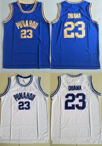 Custom # 23 Barack Obama faculdade J Punahou Jersey baratos Obama Branco azul camiseta costurada Edição Comemorativa Basketball Jerseys