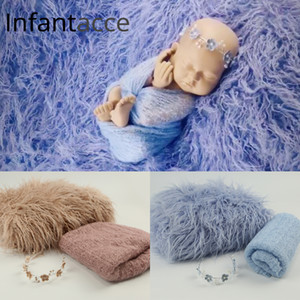 Yenidoğan fotoğrafçılık battaniye arka planında arka plan taklit kürk bebek fotoğraf prop pamuk çözgü hairband seti saç bandı esnek sarar sahne