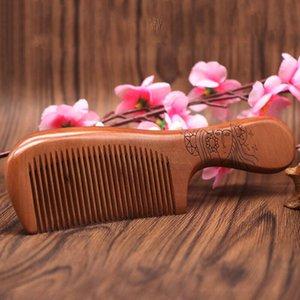 En Yeni Doğal Şeftali Ahşap Tarak Yakın Diş Anti-statik Baş Masajı Saç Bakımı Ahşap Araçlar Güzellik Aksesuarları
