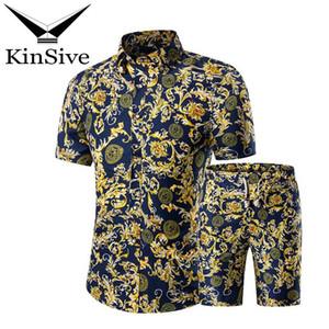 Летний спортивный костюм Мужские рубашки и пляжные шорты наборы мода печати с коротким рукавом футболка + короткие брюки из двух частей спортивный костюм 2018 Новый