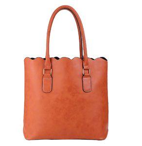 ROYALBLANKS Atacado personalizado Faux Leather Top Handle Bag Scalloped Casual Tote da bolsa com duas alças pode ser Embroideried