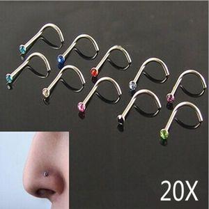 2019 Titanium Aço Cristal Nose Stude Anéis Art Body Piercing jóias de aço inoxidável Nose Rings Brinco Studs Nose Jóias Body Piercing