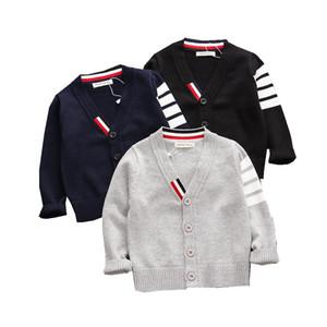Осень Детские Мальчики свитер малышей мальчиков V-образным вырезом Jumper Трикотаж с длинными рукавами хлопок Cardigans одежды детей Детский свитер пальто
