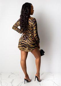 Clothing 3D Digital Print Womens Casual Dresses Fashion Leopard Priint Womens Designer Shirt Dresses Casual Females