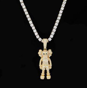 Oro 14K placcato Ins Cartoon Doll Collana micro pavimenta Cubic Zirconia diamanti con 24inch contenitore di regali catena simulata