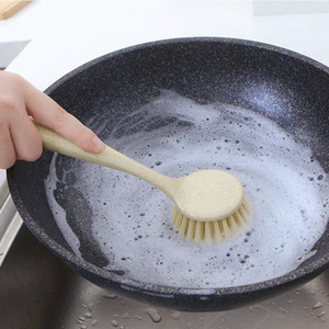 Household Kitchen Brush Cleaning Oil-Removing Pot Brush Long Handle Bristle Pot Brush Dishwashing Plastic Artifact