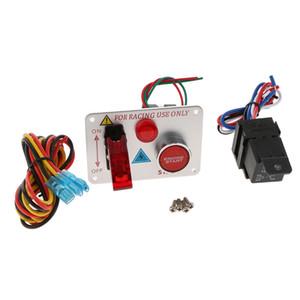 Anahtarı Paneli Motor Başlat Düğmesi LED Geçiş Karbon Yarış Arabası 12V-24V Ateşleme