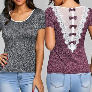 여름 여성 캐주얼 레이스 짧은 소매 Bowknot 셔츠 느슨한 T 셔츠 의류 패션 솔리드면 편안한 의류 탑