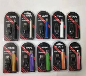 V-VAPE LO Разогреть В. Батарея Блистер Kit 280mAh 650mAh Variable Voltage Регулируемый С USB зарядное устройство для 510 Wax густое масло Отопление Cartridge