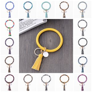 Hot selling 23 color PU Leather Key buckle Bracelet tassel pendant PU Leather Key-Ring hand ring printed Wristlet key chain T9I00415