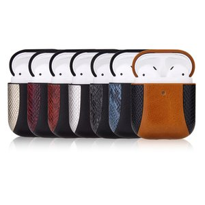 AirPods Protective Case for 1 2 Bluetooth Headset Shockproof Case for AirPods Fashion Snake Pattern Patchwork Storage Box 7 Colors Wholesale