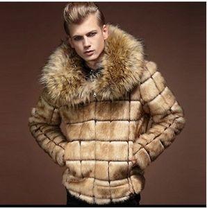 Brasão GOPLUS New Inverno Homens da pele do falso Masculino Fur Turn-Down Collar da manta de Design de Moda Mens Coats Falso Fox Fur Collar Casaco de Pele