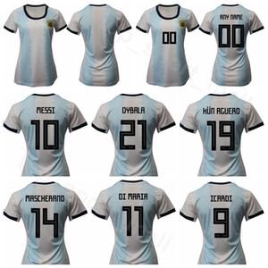 Женщины Аргентина Джерси 2019 2020 Леди Футбол MESSI DI MARIA AGUERO MARTINEZ OTAMENDI Футбольная рубашка Комплекты Униформа Custom Name Number