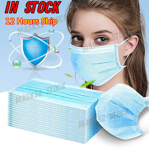 7339044 12 hours Ship! Disposable Face Mask 3 Layer Ear-loop Dust Mouth Masks Cover 3-Ply Non-woven face Mask Soft Breathable outdoor masks