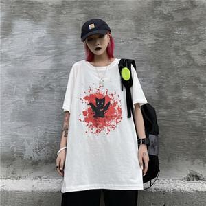 Vintage Harajuku Kawaii Femmes 2020 Black Summer Lady Flamme Confit T-shirts imprimés Cartoon O-Neck T-shirts Tops Feminina Vestidos