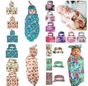 Nouveau-né bébé Swaddle Wrap Couverture Hat Set infantile Fleur Floral Swaddle Coton Gigoteuse Wrap tissu avec nœud casquette 13 Styles
