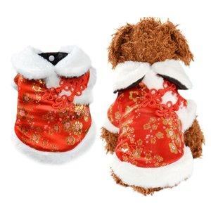 Red Coat Pet Estilo do Ano Novo Chinês Dog Pet Cheongsam Silk Cotton Inverno roupas para cachorros para Pequenas Médio cãe Costume Pet